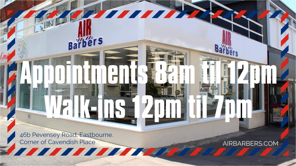 Appointments 8am til 12pm & Walk-ins 12pm til 7pm at AIR Barbers